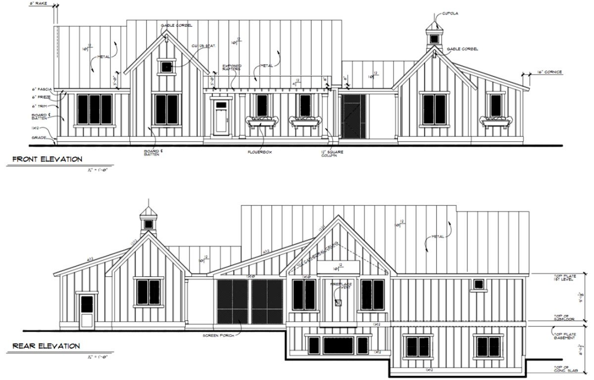 Daeco Builders Available Home Plans: Urban Farmhouse Front and Rear Elevation