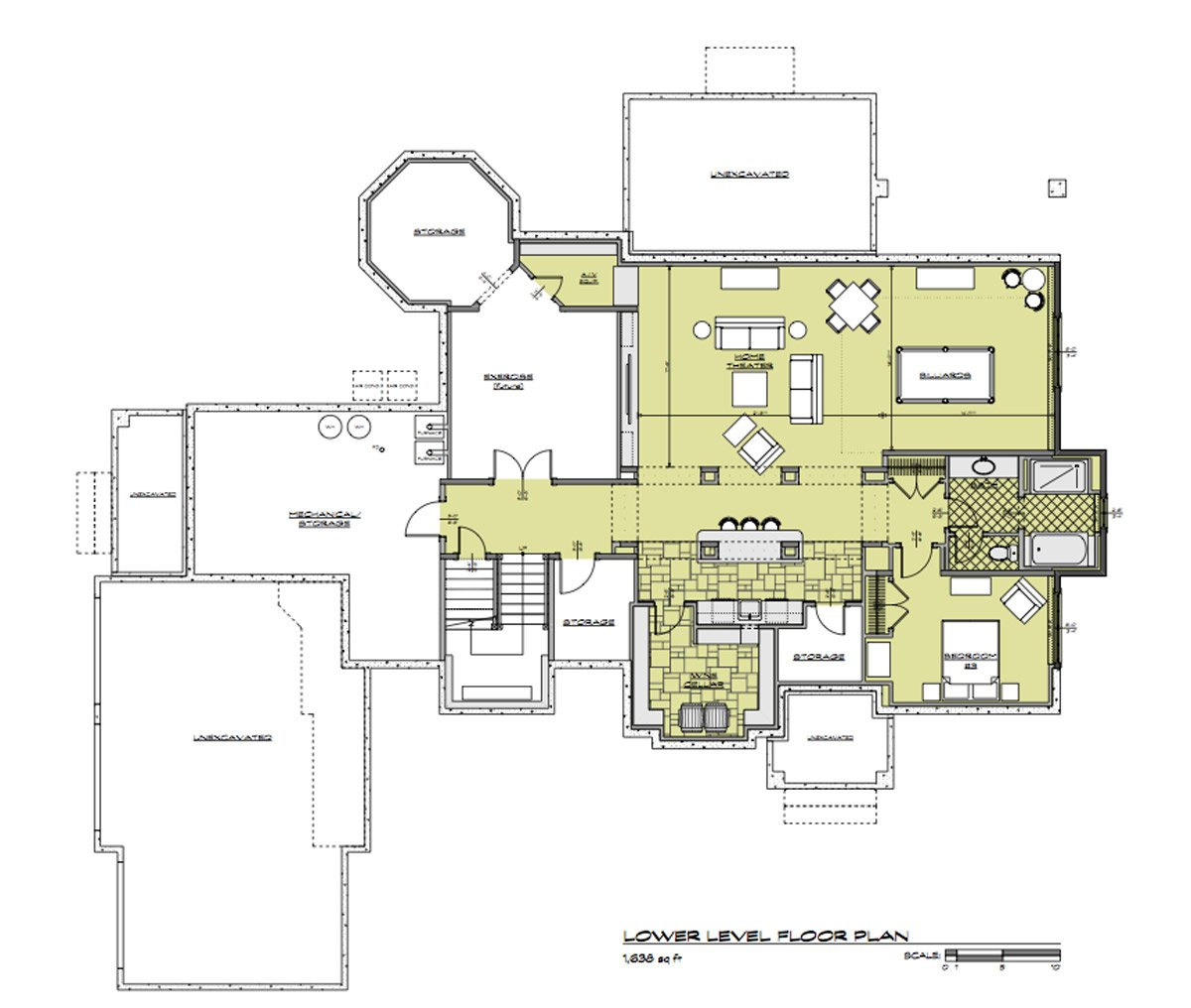 Daeco Builders Available Home Plans: Craftsman Lower Level Floor Plan